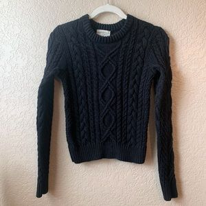 RL Denim & Supply Black cable knit cropped sweater